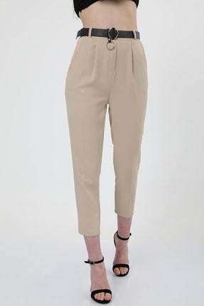 MD trend Kadın Bej Kemerli Pileli Havuç Kesim Ofis Pantolon 3