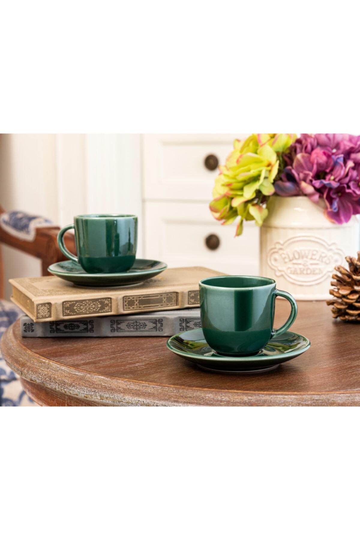 Yeşil Morane  Kahve Fincan Seti - 2'li