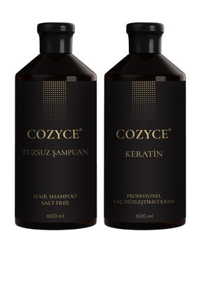 Cozyce Tuzsuz Şampuan 600 Ml + Brezilya Fönü Keratini 600 Ml Saç Düzleştirici Keratin Seti 0