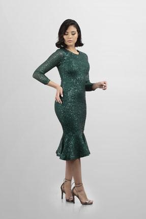 Kadın Zümrüt Yeşil Pulpayetli Eteği Valonlu Balık Abiye 0142