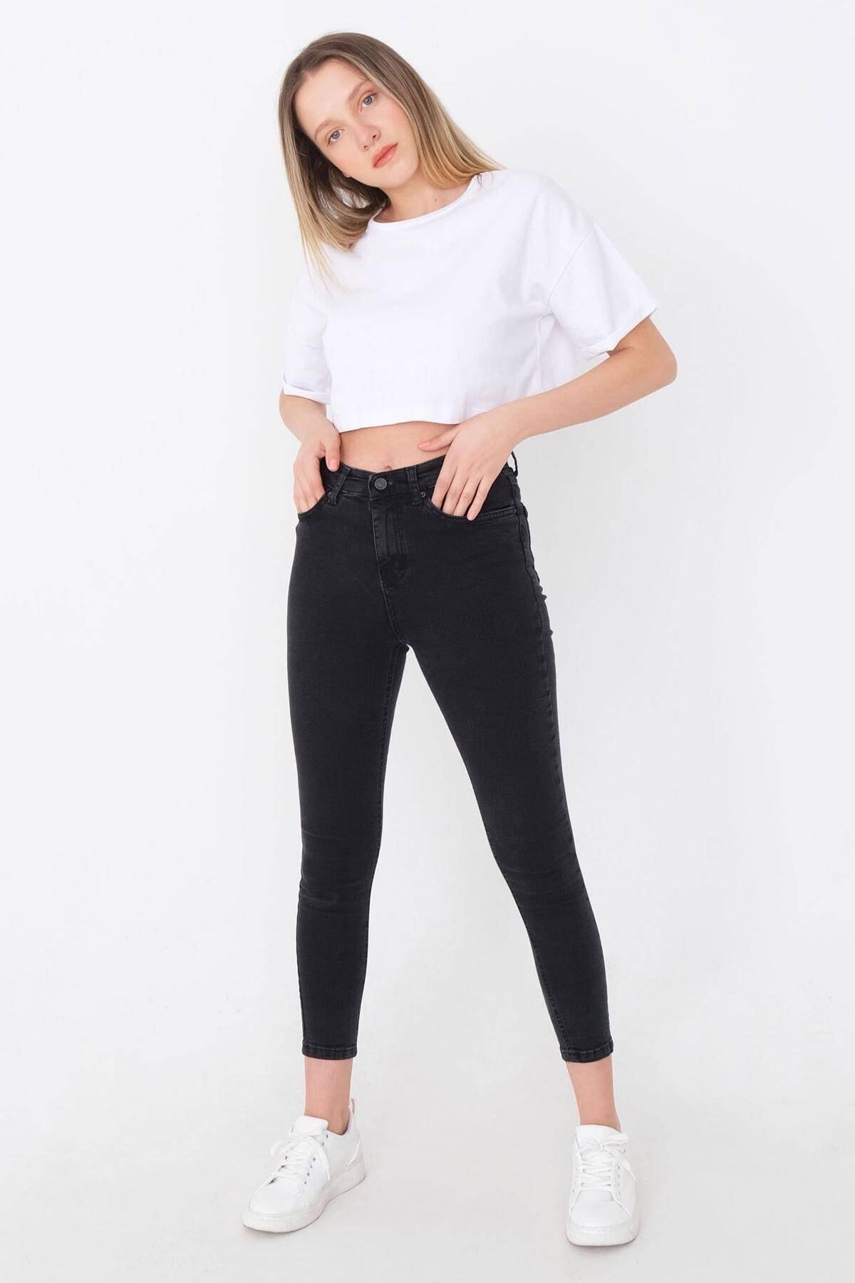 Kadın Füme Yüksek Bel Pantolon Pn8560 - Pnspnt Adx-0000014371