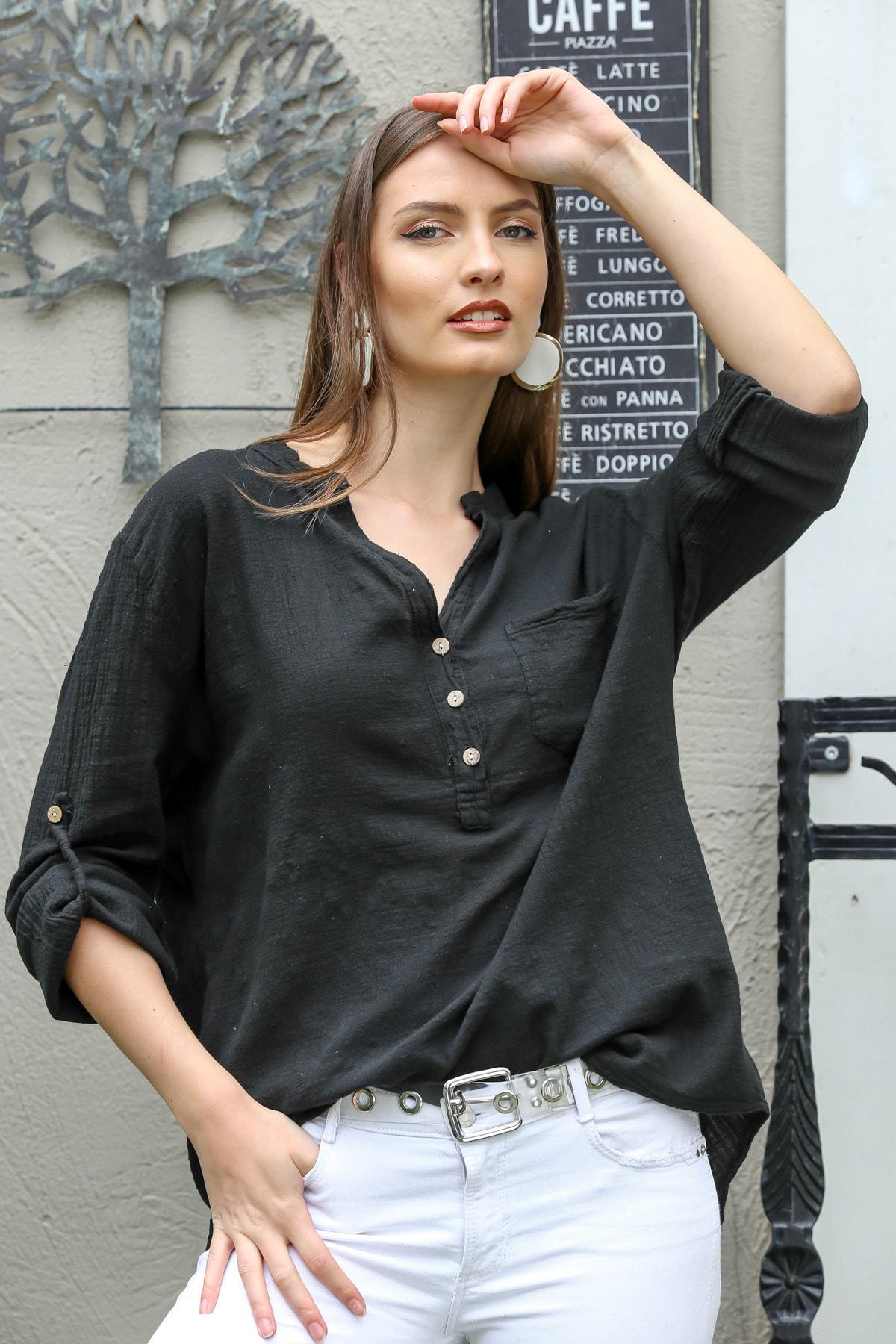 Kadın Siyah Patı Düğme Detaylı Cepli Kolları Ayarlı Dokuma Bluz M10010200BL95313
