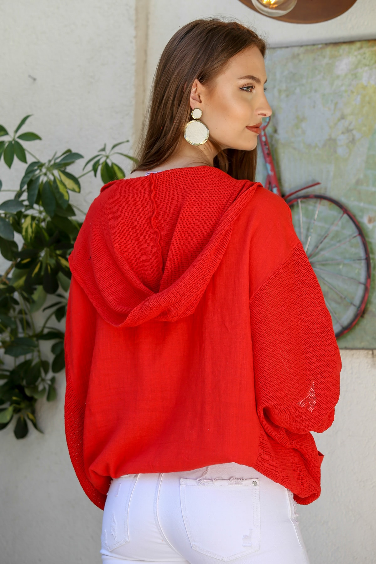 Chiccy Kadın Kırmızı Kapüşon Ve Kolları File Detaylı Cepli Beli İp Büzgülü Yıkamalı Ceket M10210100CE99014