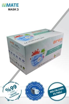 WMATE MASK3 50 Adet Medikal Yeşil Meltblown Filtreli 3 Katlı Yeni Nesil Maske 10'lu Özel Poşet 1