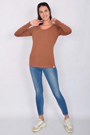 Letoile Pamuk Likralı Uzun Kollu Kadın T-shirt Kiremit 4