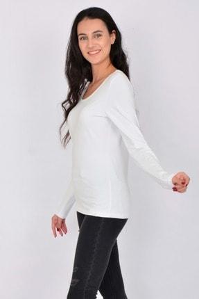 Letoile Pamuk Likralı Uzun Kollu Kadın T-shirt Beyaz 3