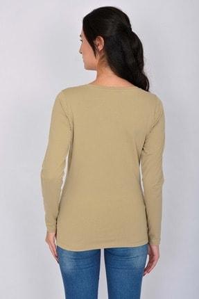 Letoile Pamuk Likralı Uzun Kollu Kadın T-shirt Bej 3
