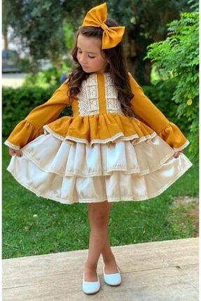 Riccotarz Kız Çocuk Krem Dantel Işlemeli Hardal Elbise 0