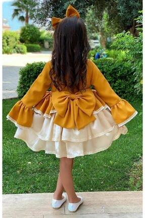 Riccotarz Kız Çocuk Krem Dantel Işlemeli Hardal Elbise 1