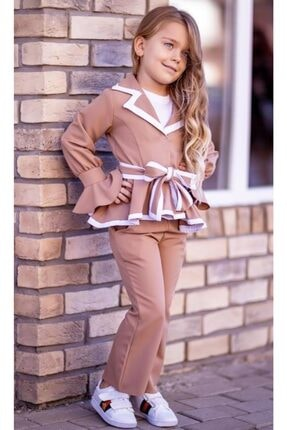 Riccotarz Kız Çocuk Ispanyol Paça Kahverengi Pantolonlu Takım 0
