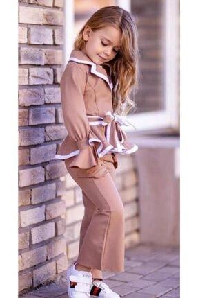 Riccotarz Kız Çocuk Ispanyol Paça Kahverengi Pantolonlu Takım 1