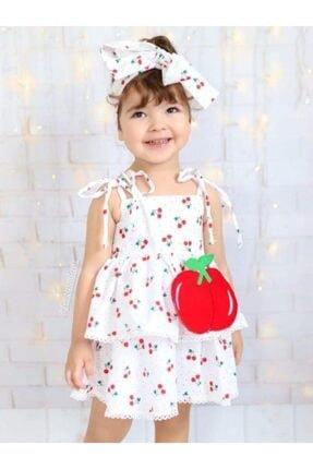 Riccotarz Kız Çocuk Beyaz Cherry Kirazlı Elbise 0
