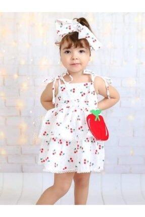 Riccotarz Kız Çocuk Beyaz Cherry Kirazlı Elbise 1