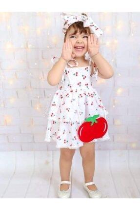 Riccotarz Kız Çocuk Beyaz Cherry Kirazlı Elbise 2