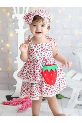 Riccotarz Kız Çocuk Kırmızı Beyaz Strawberry Girl Elbise 0