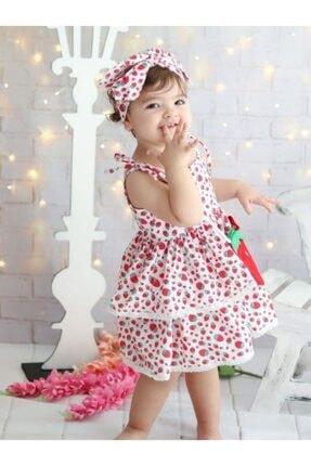 Riccotarz Kız Çocuk Kırmızı Beyaz Strawberry Girl Elbise 1