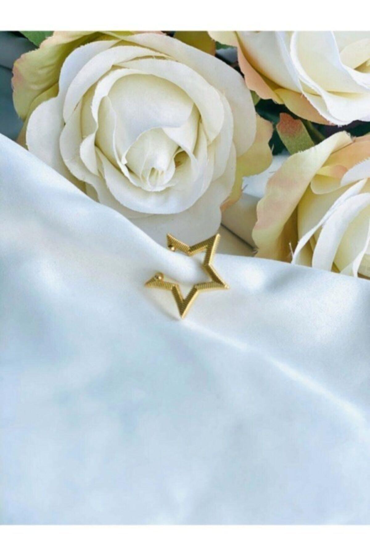 Kadın Altın Renkli Yıldız Kıkırdak Küpe (EARCUFF)