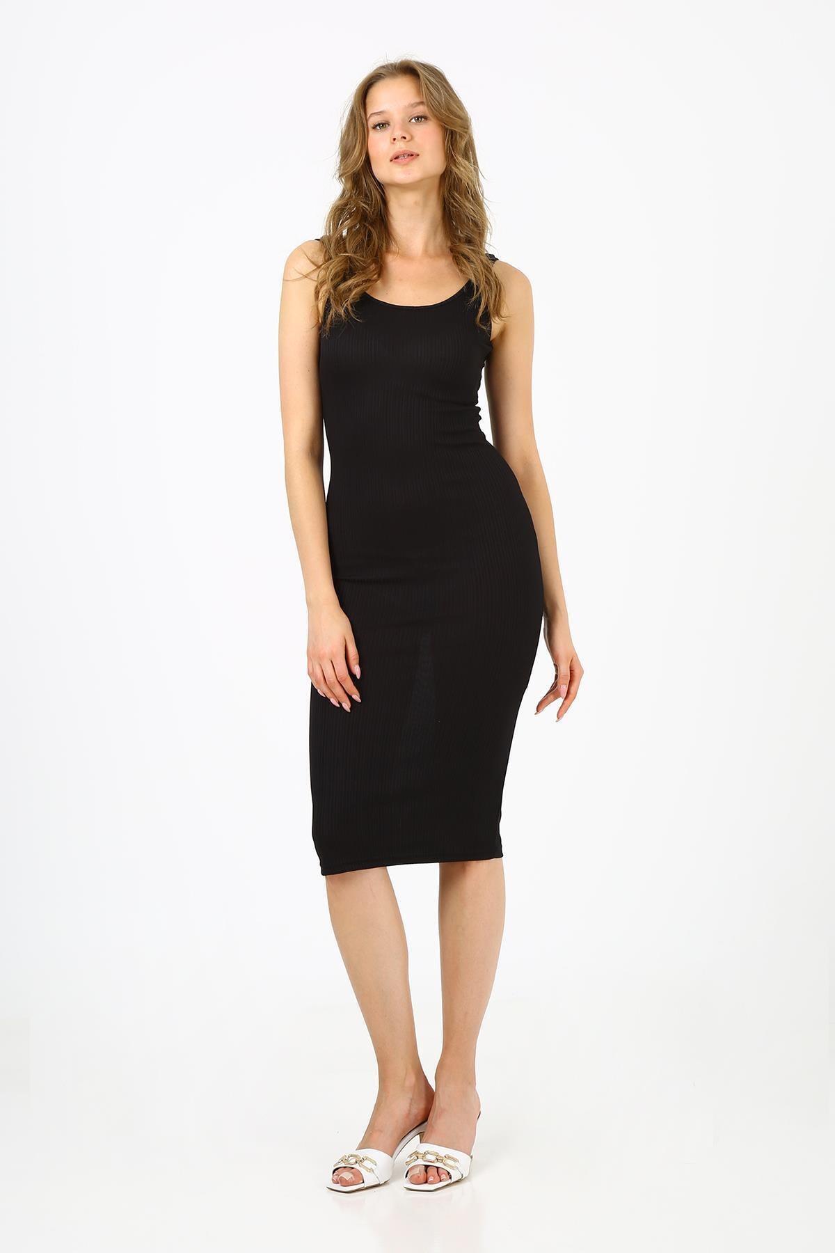 Kadın Siyah Fitilli Uzun Elbise (b21-4140)