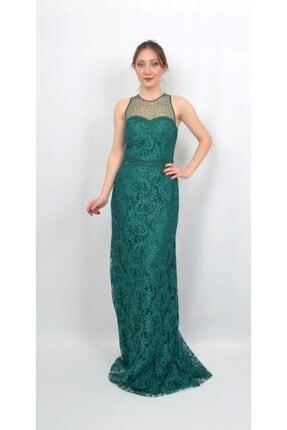 Kadın Zümrüt Yeşili Dantel Abiye AL-0572