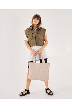 Shule Bags Kabartmalı Puf Kumaş Shopper Çanta Napoli Krem 4
