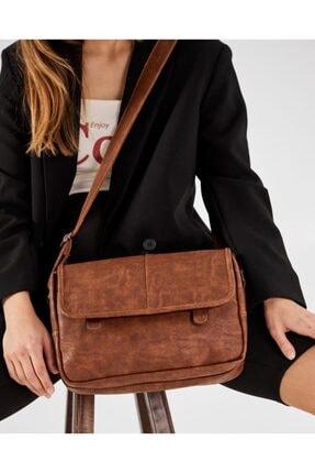 Shule Bags Nubuk Kumaş Kadın Postacı Çanta Lina Taba 2