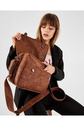 Shule Bags Nubuk Kumaş Kadın Postacı Çanta Lina Taba 3