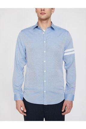 Koton Erkek Mavi Klasik Yaka Uzun Kollu Çizgili Shirt 9YAM64052OW 2