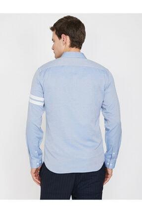 Koton Erkek Mavi Klasik Yaka Uzun Kollu Çizgili Shirt 9YAM64052OW 3