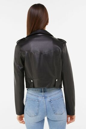 Bershka Kadın Siyah Suni Deri Biker Ceket 01219644 1