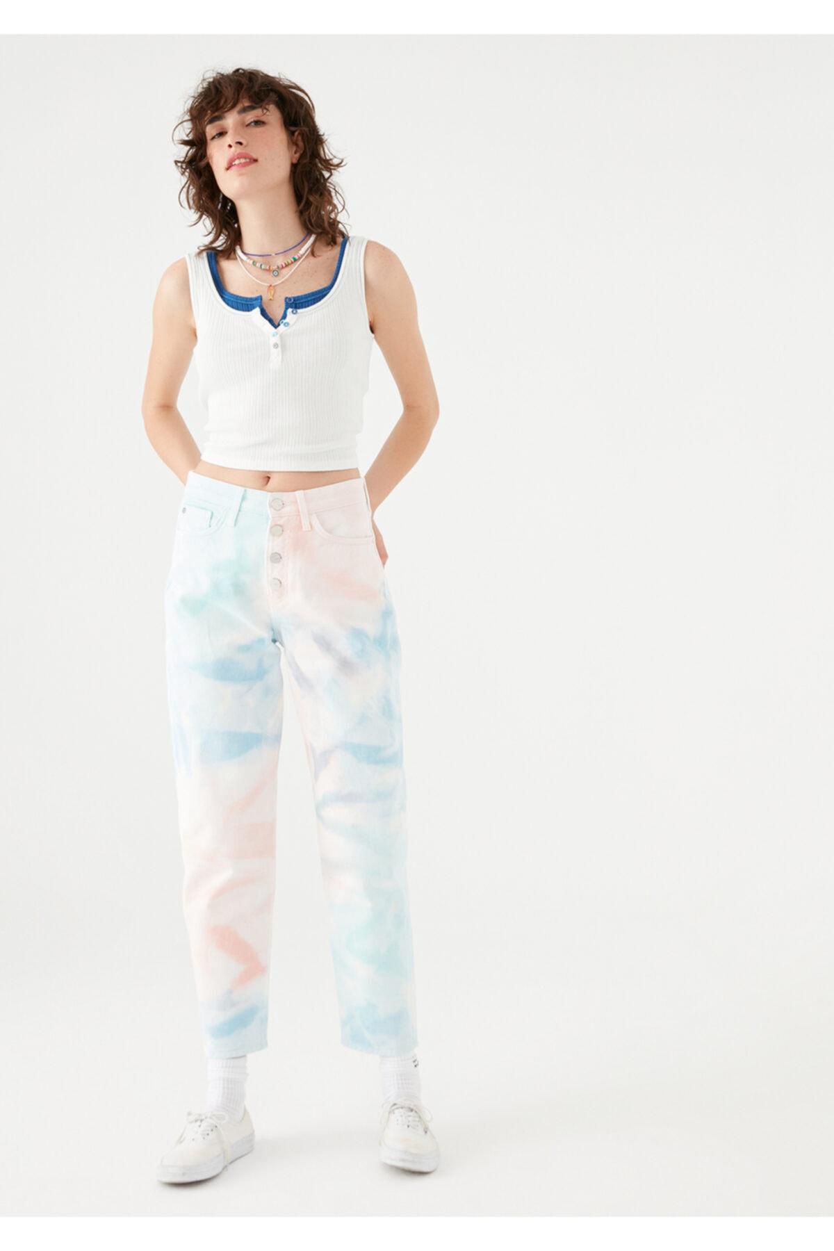 Lila Nazar Boncuğu Detaylı Renkli Batik Jean Pantolon 101354-35280