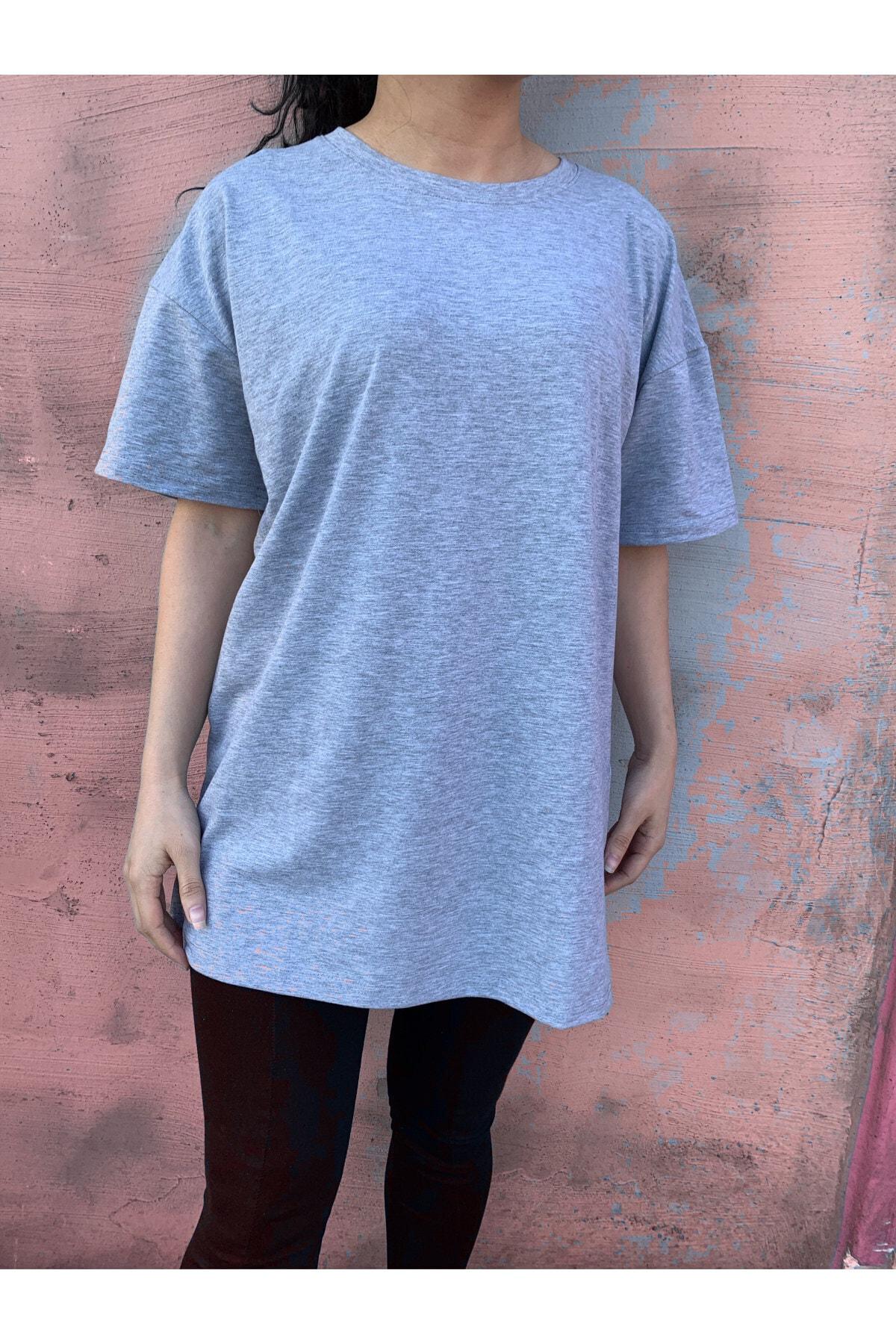 Kadın Gri %100 Pamuk Bisiklet Yaka Oversize Örme Tshirt