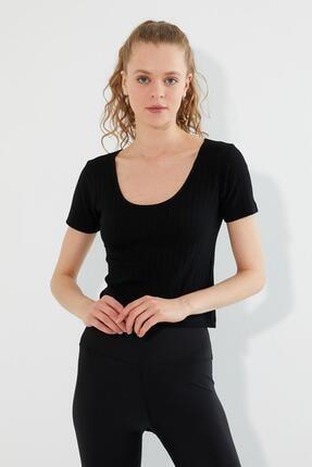 Polo State Kadın U Yaka T-shirt Siyah 1