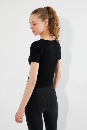 Polo State Kadın U Yaka T-shirt Siyah 4