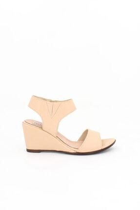 Deripabuc Hakiki Deri Bej Kadın Dolgu Topuklu Deri Sandalet Dp38-1130 0