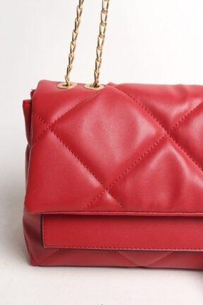 Moda azza Kadın Kırmızı Zincir Askılı Omuz Çantası 2