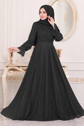 Tesettürlü Abiye Elbiseler - Siyah Tesettür Abiye Elbise 22202s ARM-22202|00205_Koyu Lila
