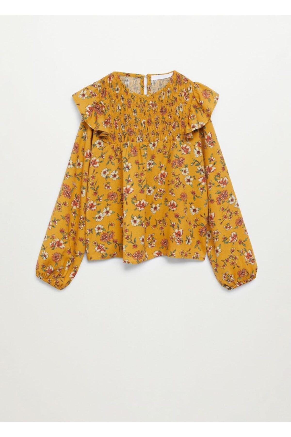 Mango Çiçek Desenli Dökümlü Bluz