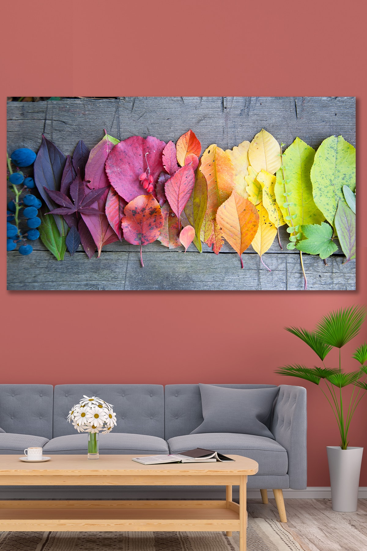 Çok Renkli Yaprak Kanvas Tablo - 120 X 60 cm