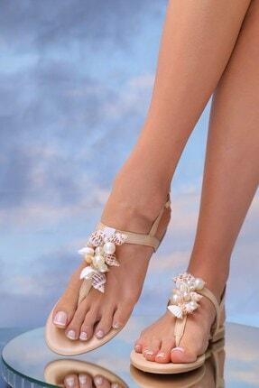 Oblavion Kadın Bej Hakiki Deri Günlük Taşlı Sandalet 4