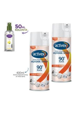 Activex Hijyenik Kumaş ve Yüzey Spreyi 400 ml X 2 Adet + 50ml Duru Kolonya Hediyeli 1