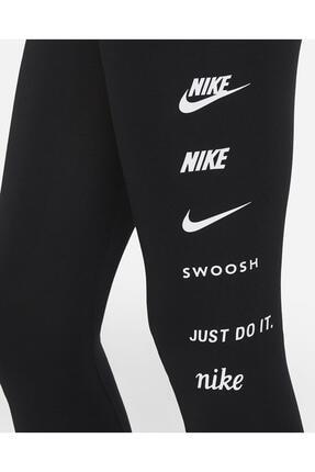 Nike Sportswear Swoosh Yüksek Belli Siyah Tayt 2