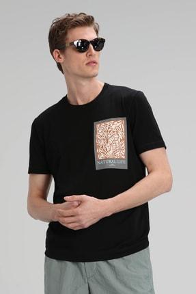 Lufian Mark Modern Grafik T- Shirt Siyah 1
