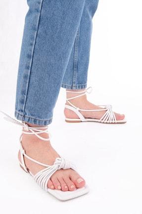 Marjin Kadın Beyaz İpli Sandalet 1