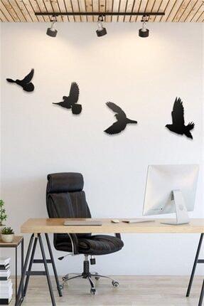 DemStudio Dekoratif Ahşap Modern Dörtlü Kuş Duvar Süsü Duvar Dekor 1
