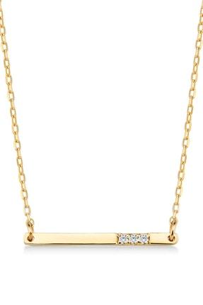 Gelin Pırlanta Kadın Altın  Diamond Pırlantalı Bar Kolye 14 Ayar 0