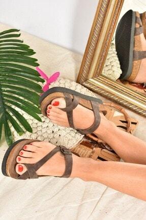 Fox Shoes Kadın  Kahverengi Süet Terlik B777753002 2