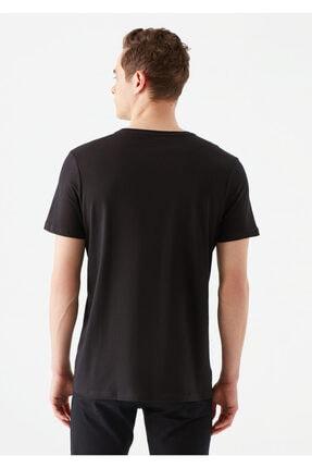 Mavi Mühür Logo Baskılı Siyah Tişört 3