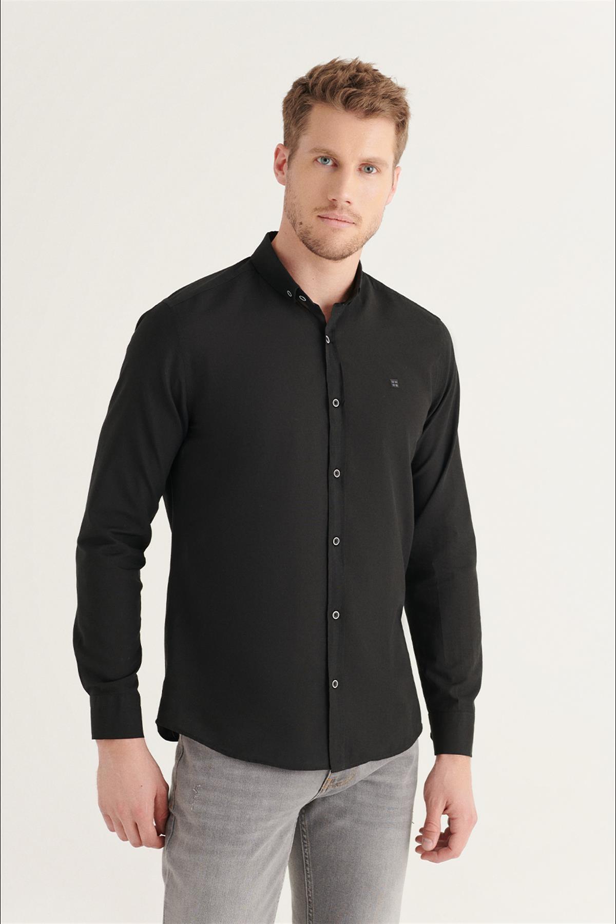 Erkek Siyah Düz Düğmeli Yaka Slim Fit Uzun Kol Vual Gömlek A11b2206