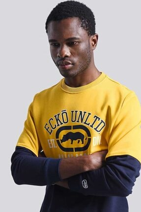 Ecko Unltd Logo Sweat 2 Sarı Erkek Baskılı Bisiklet Yaka Sweatshirt 2