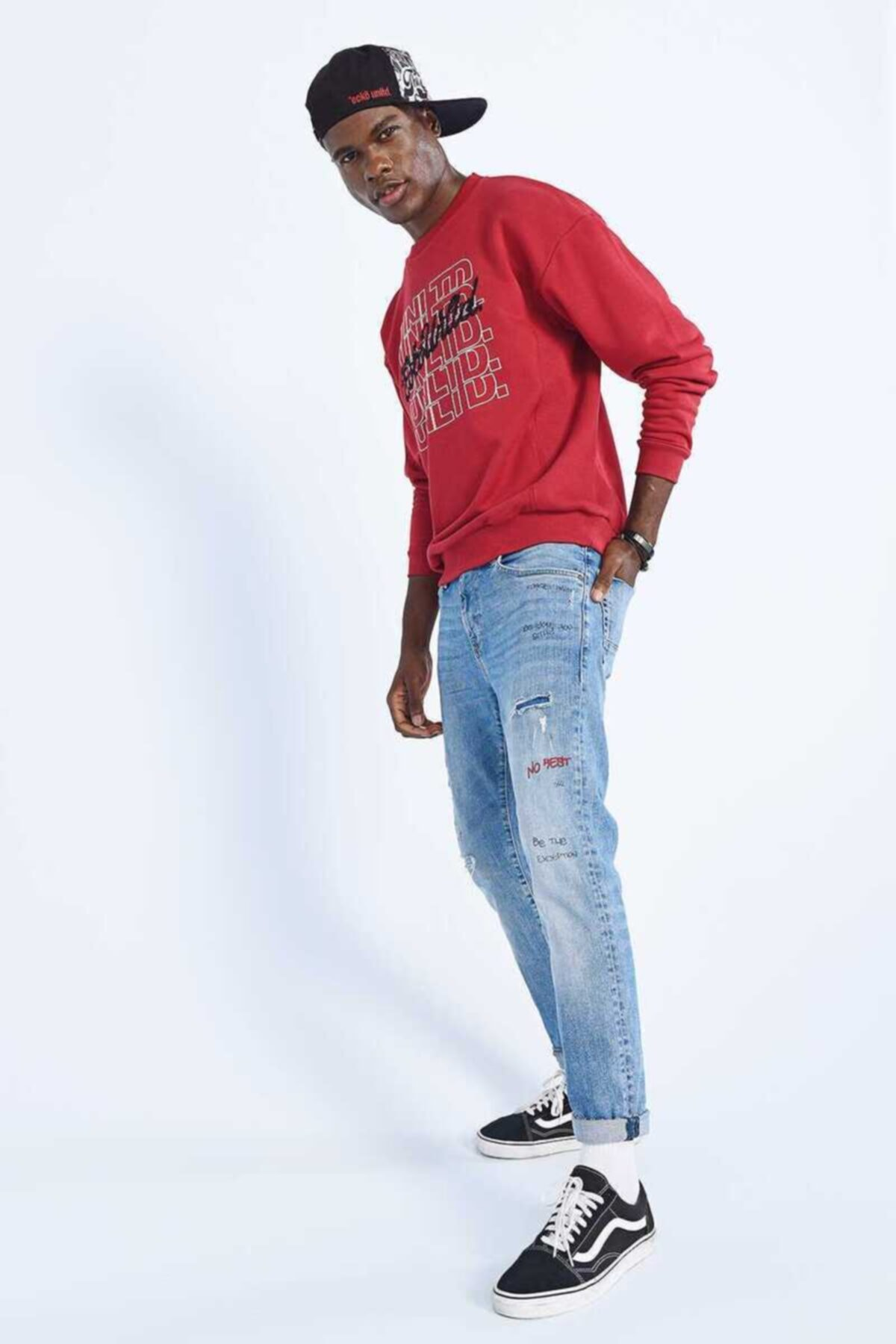 Ecko Unltd STERLIN Kırmızı Erkek Baskılı   Bisiklet Yaka Sweatshirt